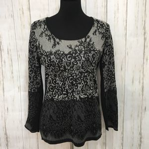 Nic + Zoe black & gray floral lacy sweater - PM
